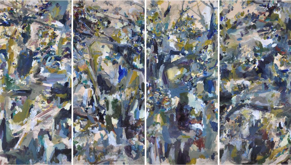 Jungle , 2015 oil on wood, 4 panels 150 x 240 cm