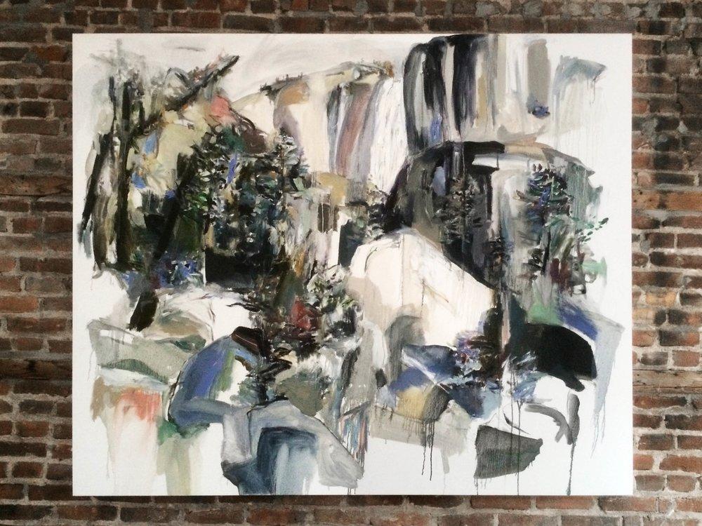 Wind, water, rocks (after Carleton Watkins) , 2015 oil on canvas 183 x 152 cm