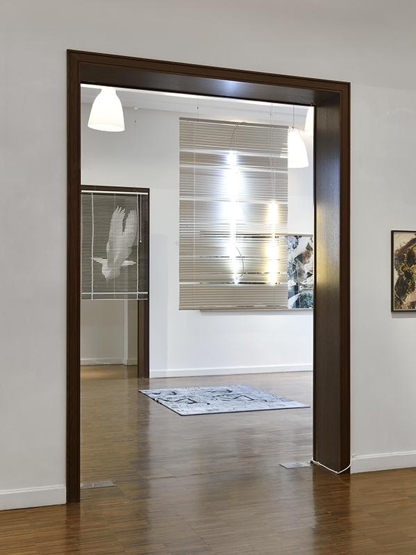installation view,  Une inconnue d'avance , 2016   ©  Rebecca Fanuele      —     Day 1/2, vinyl blind, neons, cables,2015-16  Phœnix, vinyl blind, c-print,2016
