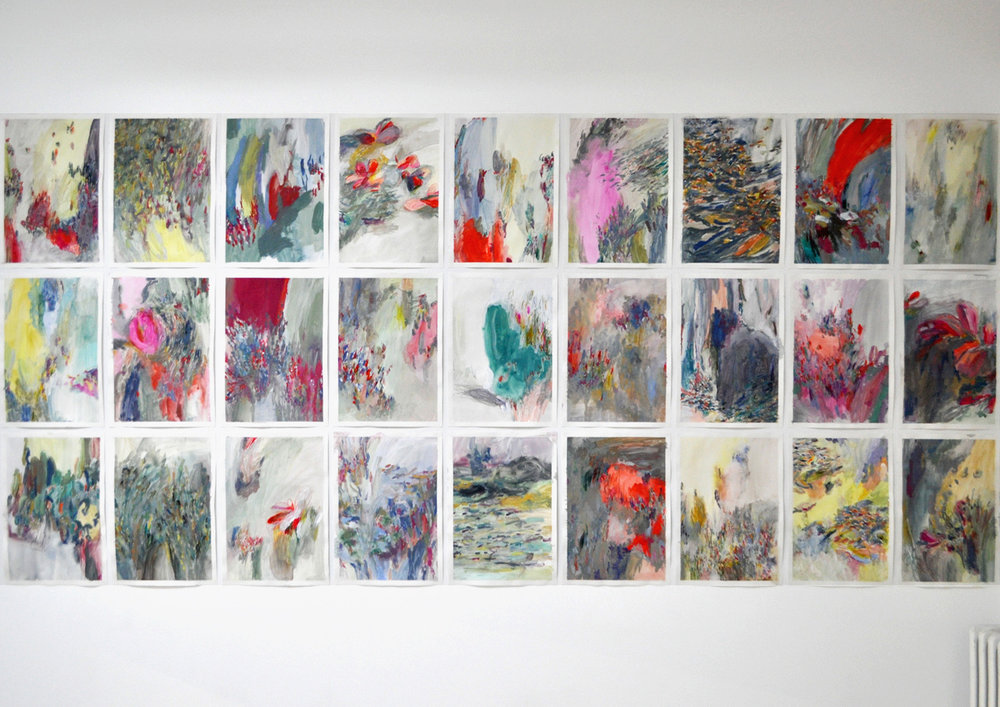 Memories (red) , 2013 gouache and crayons on paper, series of 39 42 x 59,4 cm each installation view, Studio Jeppe Hein, Berlin, 2013