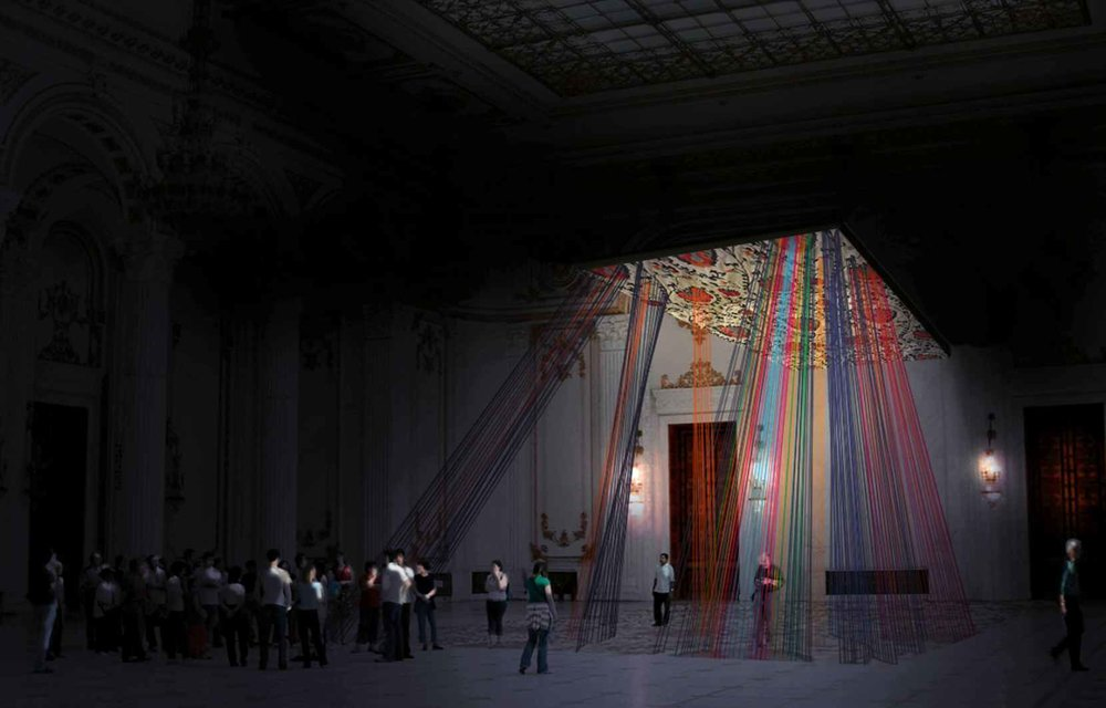 Teodolinda (2010-11) site-specific installation fabric, thread, wood dimensions variable renderings and models