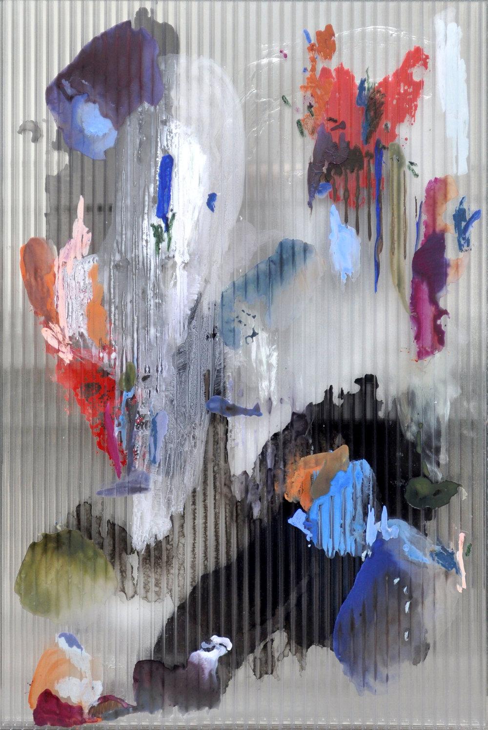 Chaos 2 , 2017 gouache, ink, acrylic, oil, mastic on polycarbonate, mirror, aluminium frame 67 x 44,5 x 2,5 cm