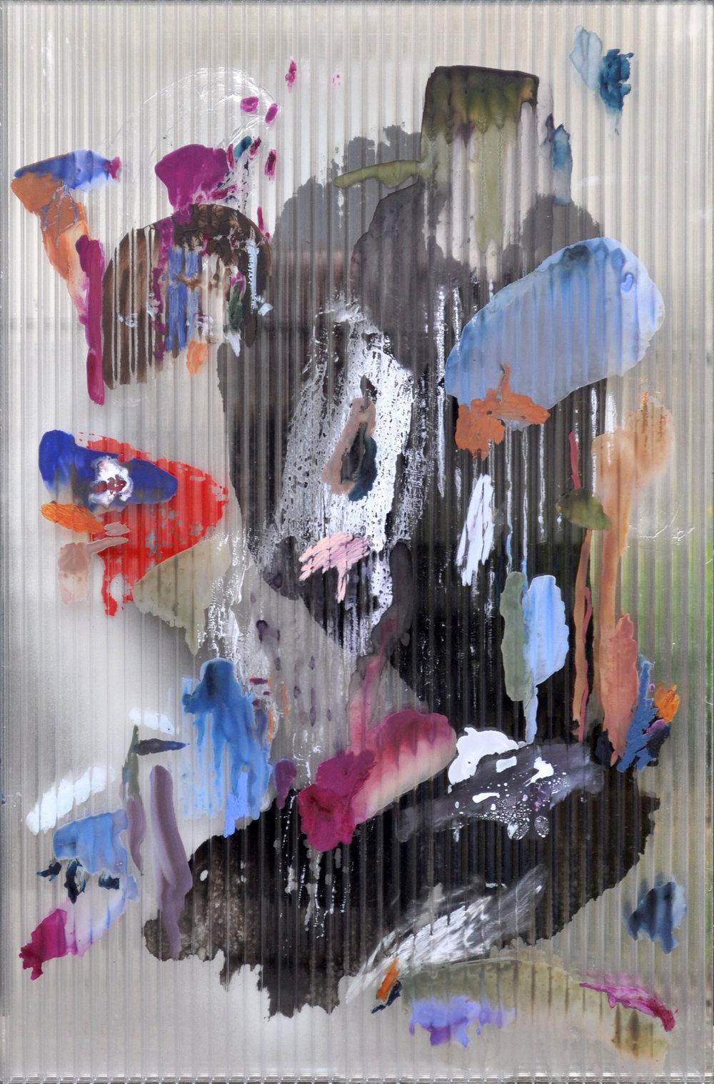 Chaos 1 , 2017 gouache, ink, acrylic, oil, mastic on polycarbonate, mirror, aluminium frame 67 x 44,5 x 2,5 cm