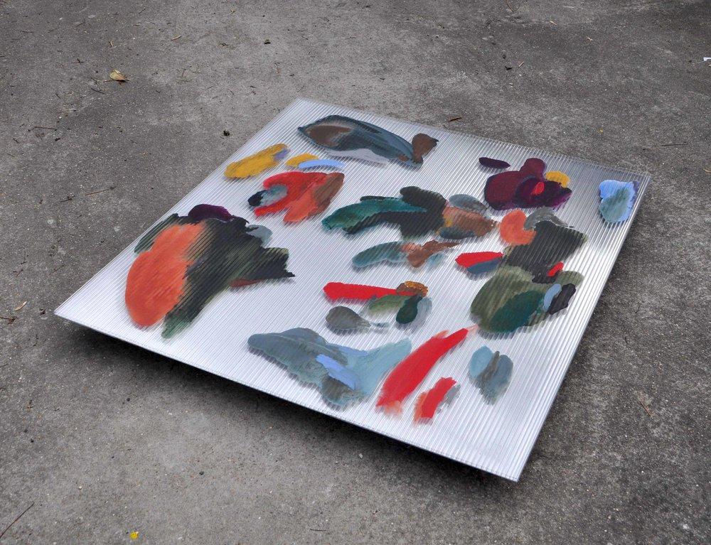 Water Meadow , 2017 gouache, ink on polycarbonate, two-way mirror, wood,wheels 100 x 98,5 x 7 cm