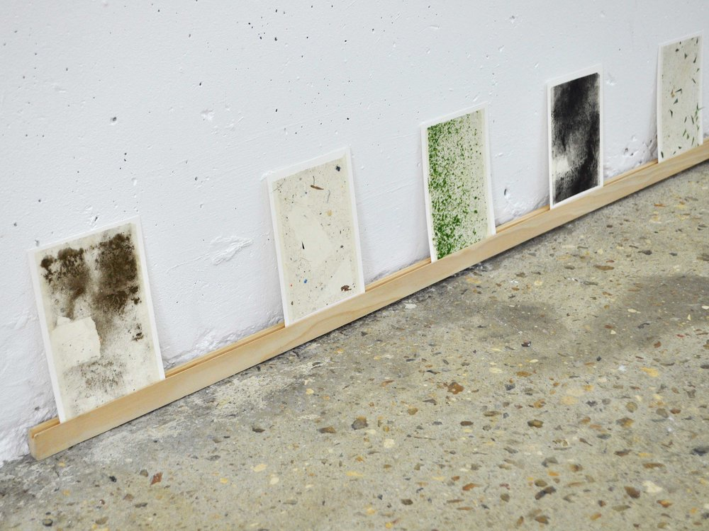 Dust Paintings , 2017 dust on adhesive, mounted on paper 16 x 11 cm each exhibition view,  Room without a view , Arnaud Deschin Galerie, 2017