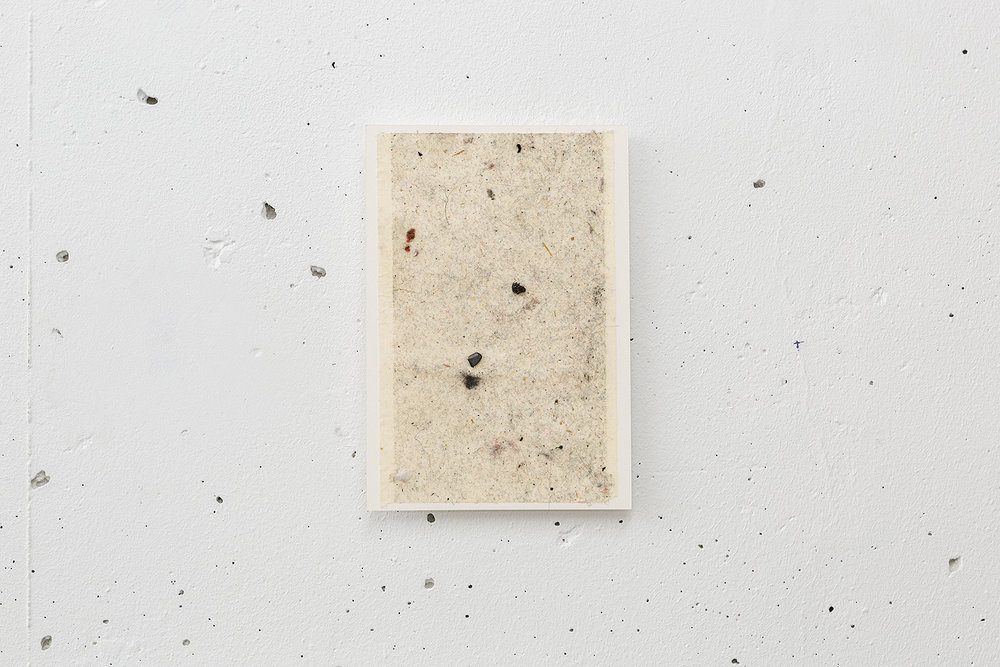 Dust Painting , 2017 dust, hairs, graphite on adhesive, mounted on paper 16 x 11 cm Installation view,  Room without a view , Arnaud Deschin Galerie, Paris, 2017