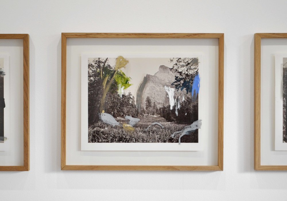 Golden Watkins , 2016   After Carleton Watkins  oil on print 28 x 35 cm / oak wooden frame : 39 x 46 x 2,5 cm  installation view,  Nuits Américaines , Maison de Chateaubriand, Châtenay-Malabry, 2017-2018