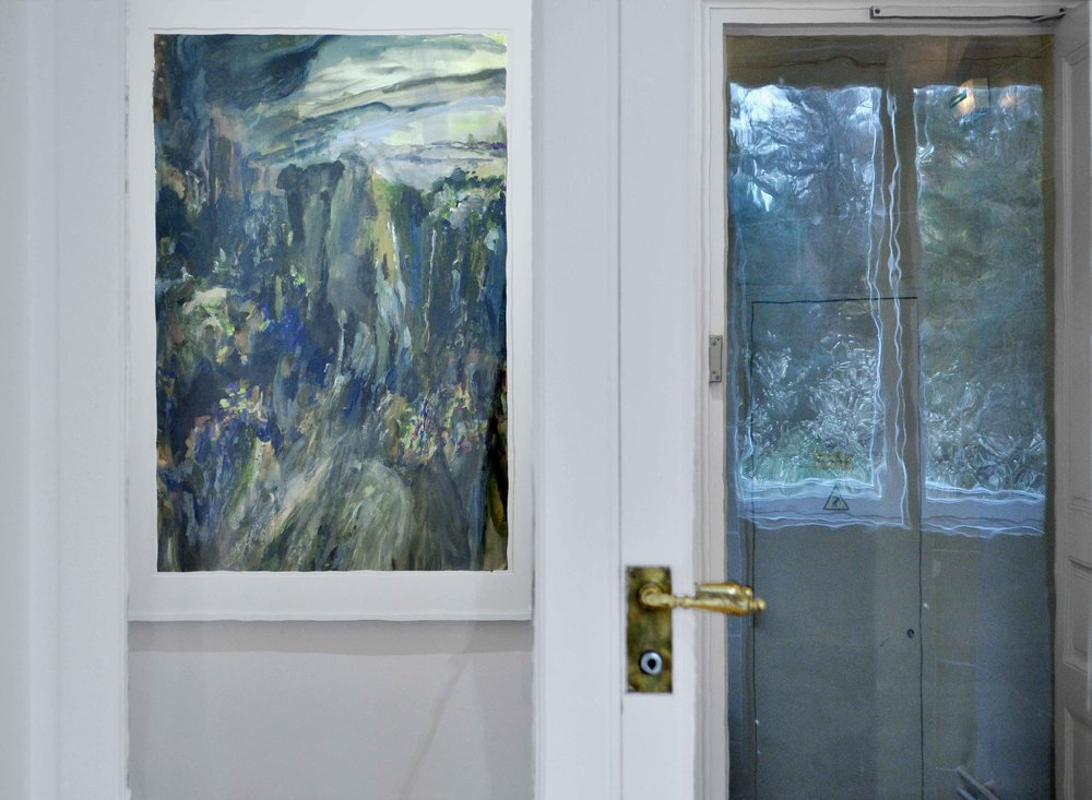 Niagara Falls , 2014  gouache and oil on paper 110 x 75 cm /white wooden frame : 122 x 88 x 3,5 cm  installation view,  Nuits Américaines , Maison de Chateaubriand, Châtenay-Malabry, 2017-2018