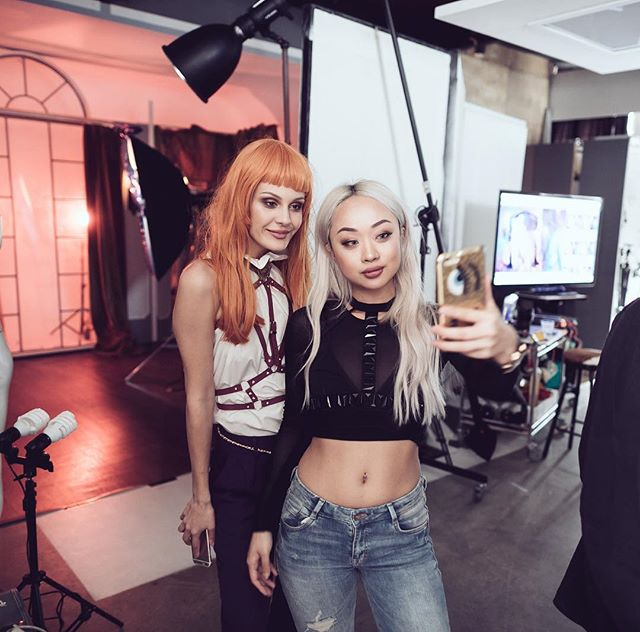 Model @juliamakhovskaya and our MUA @annabellstyle taking a break for a quick selfie in between shots for up and coming @leather_playground_label 📸 by @mxl // set design by @robinsmithnz #selfie #smithstudiosnz #model #mua #makeupartist #setdesign