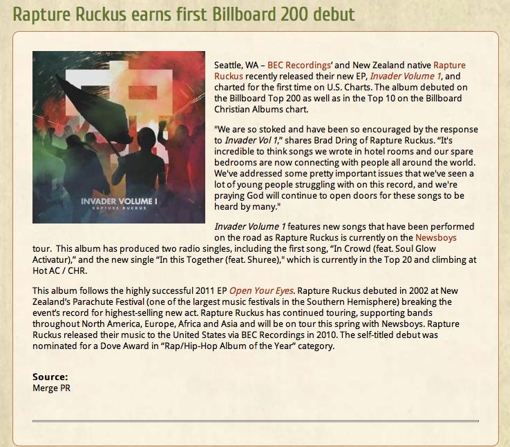 Rapture Ruckus 1st Billboard 200 debut    — STEVIE AIELLO