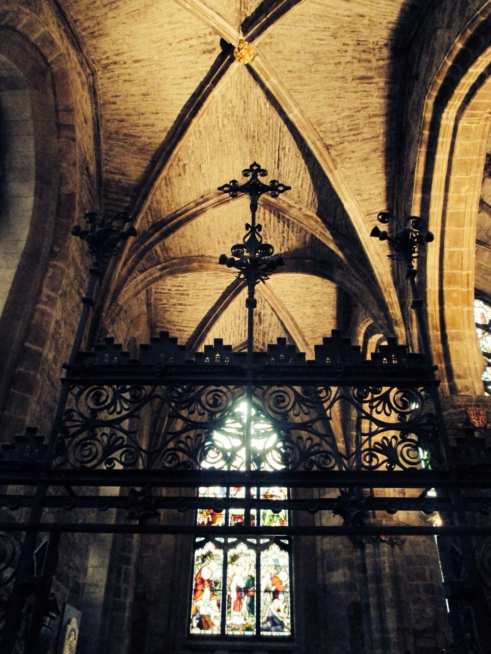 Ironwork, stained glass and the gorgeous ornate ceiling at St. Giles' Cathedral