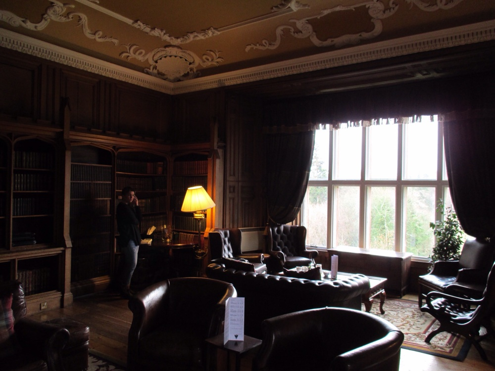 The beautiful library at Dalhousie Castle
