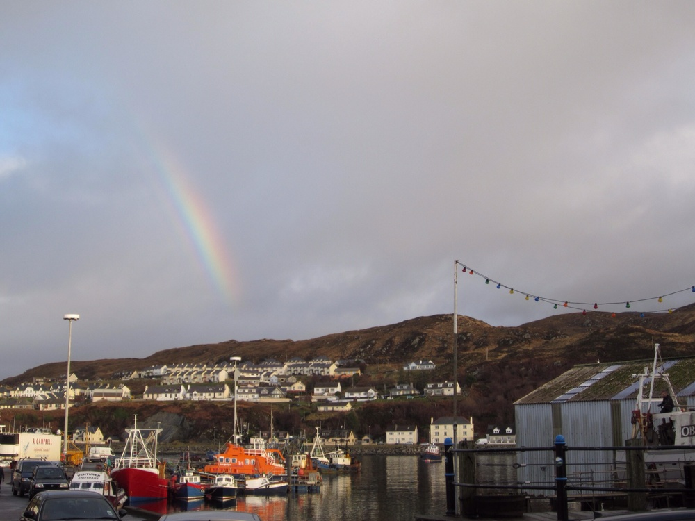Rainbow over the port - one of so, so many we chased in Scotland