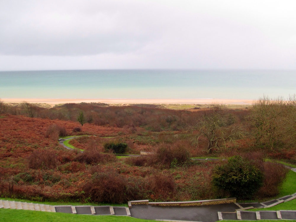 Looking down on Omaha Beach from the bluffs above