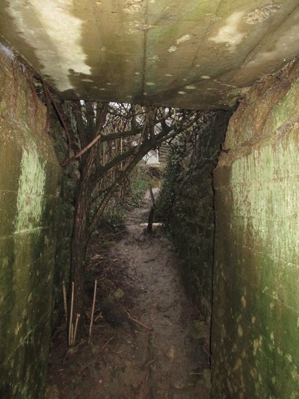 A portion of the bunker system remains intact at Pointe-du-Hoc