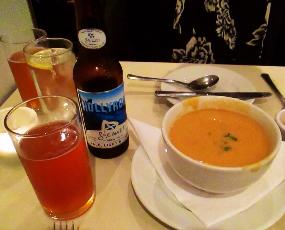 Seafood bisque at the Mussel Inn in Edinburgh pairs well with Hollyrood.