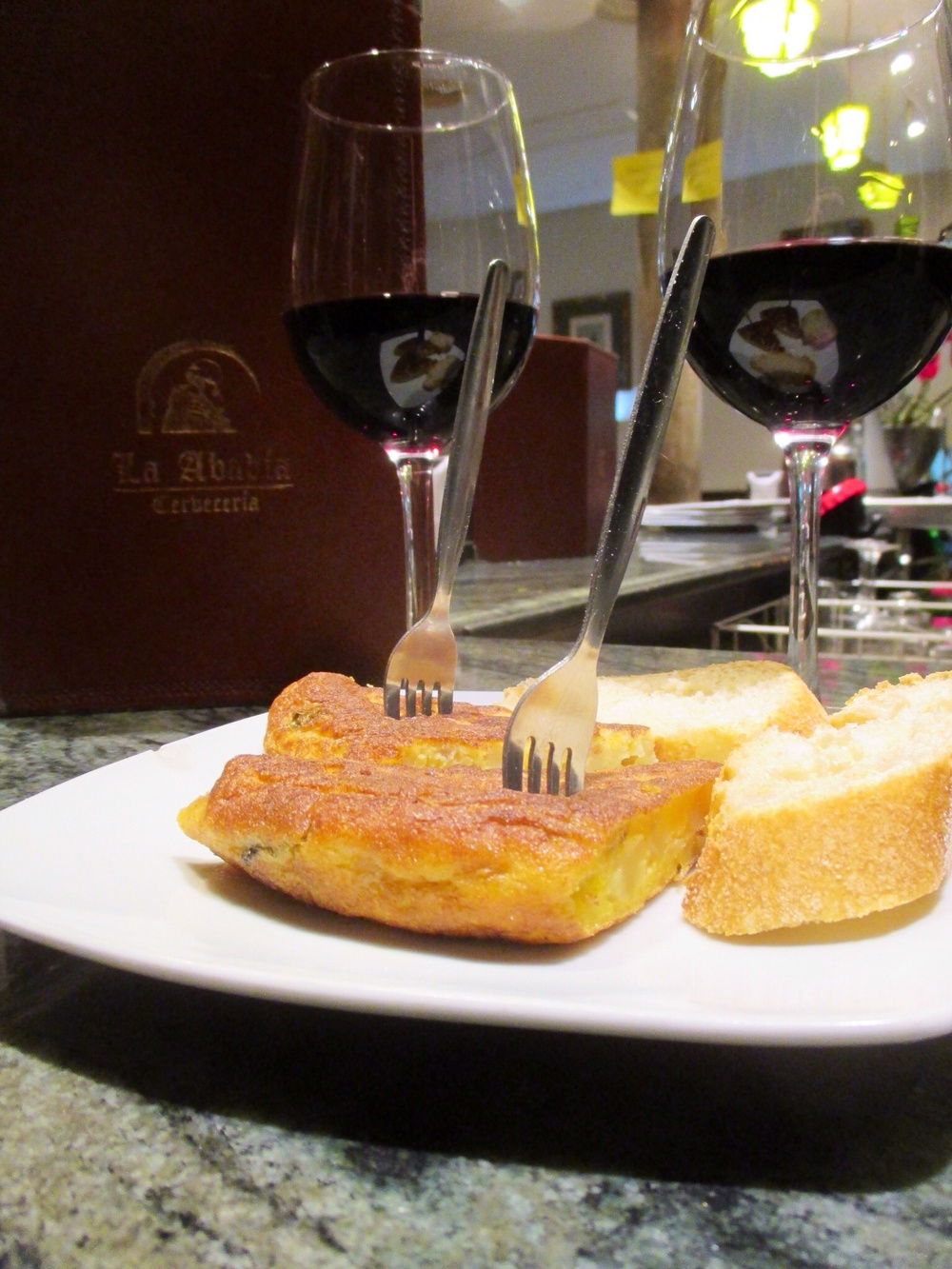 Our first free tapa in Granada - the signature Spanish-style tortilla de patatas at La Abadia