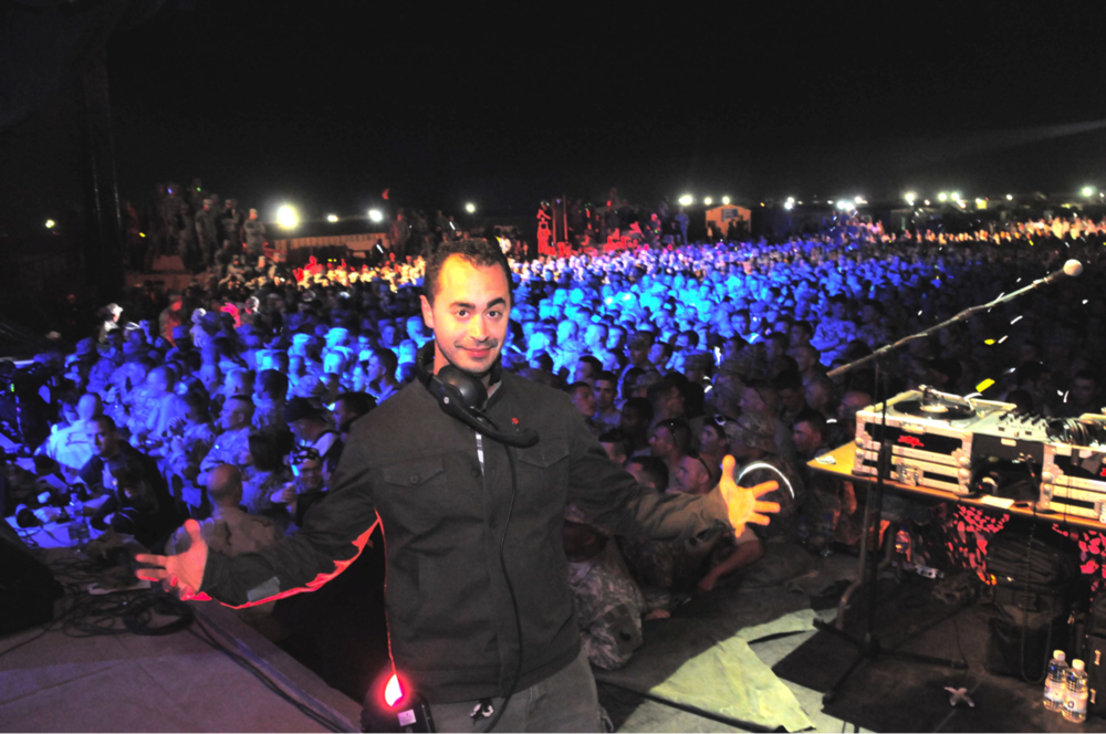 Joe on stage with DJ Z-Trip in Iraq for Operation MySpace