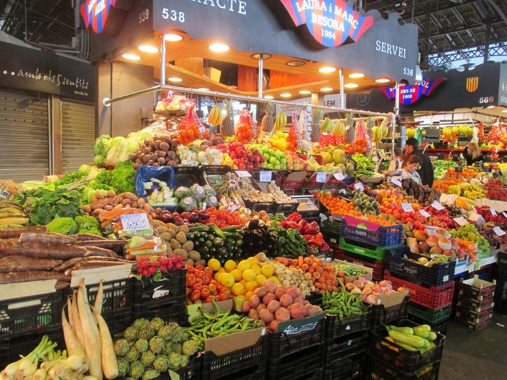 Vegetable stand at Barcelona market