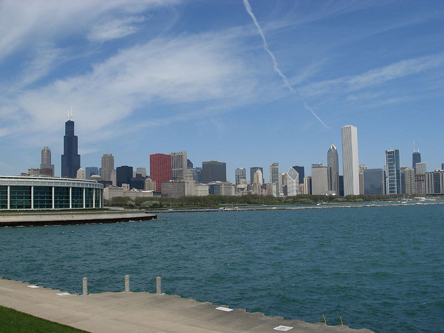 View of the Shedd Aquarium and skyline from outside the Adler Planetarium.