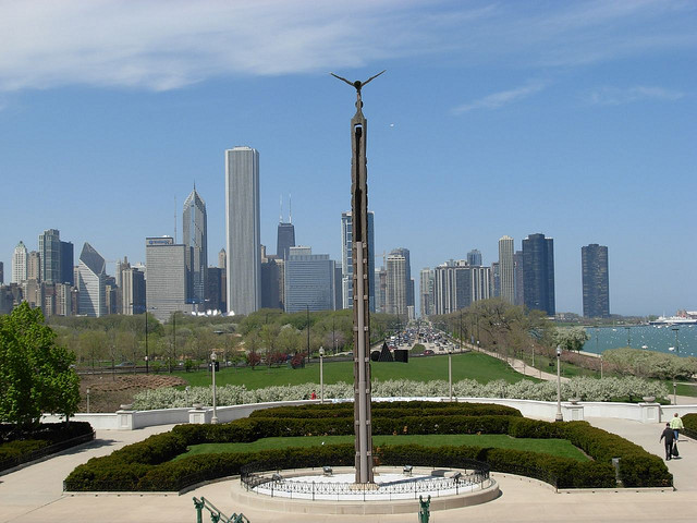 Looking North from the museum campus up Lake Shore Drive.