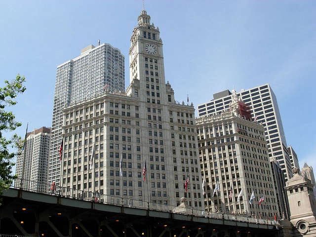 The Wrigley Building just North of the Chicago River.