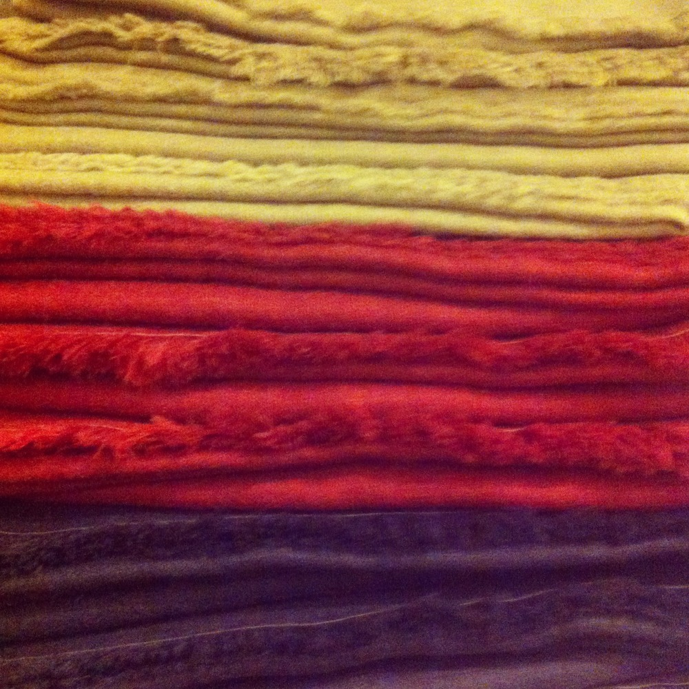 tea/iron, cochineal & logwood dyed alpaca scarves