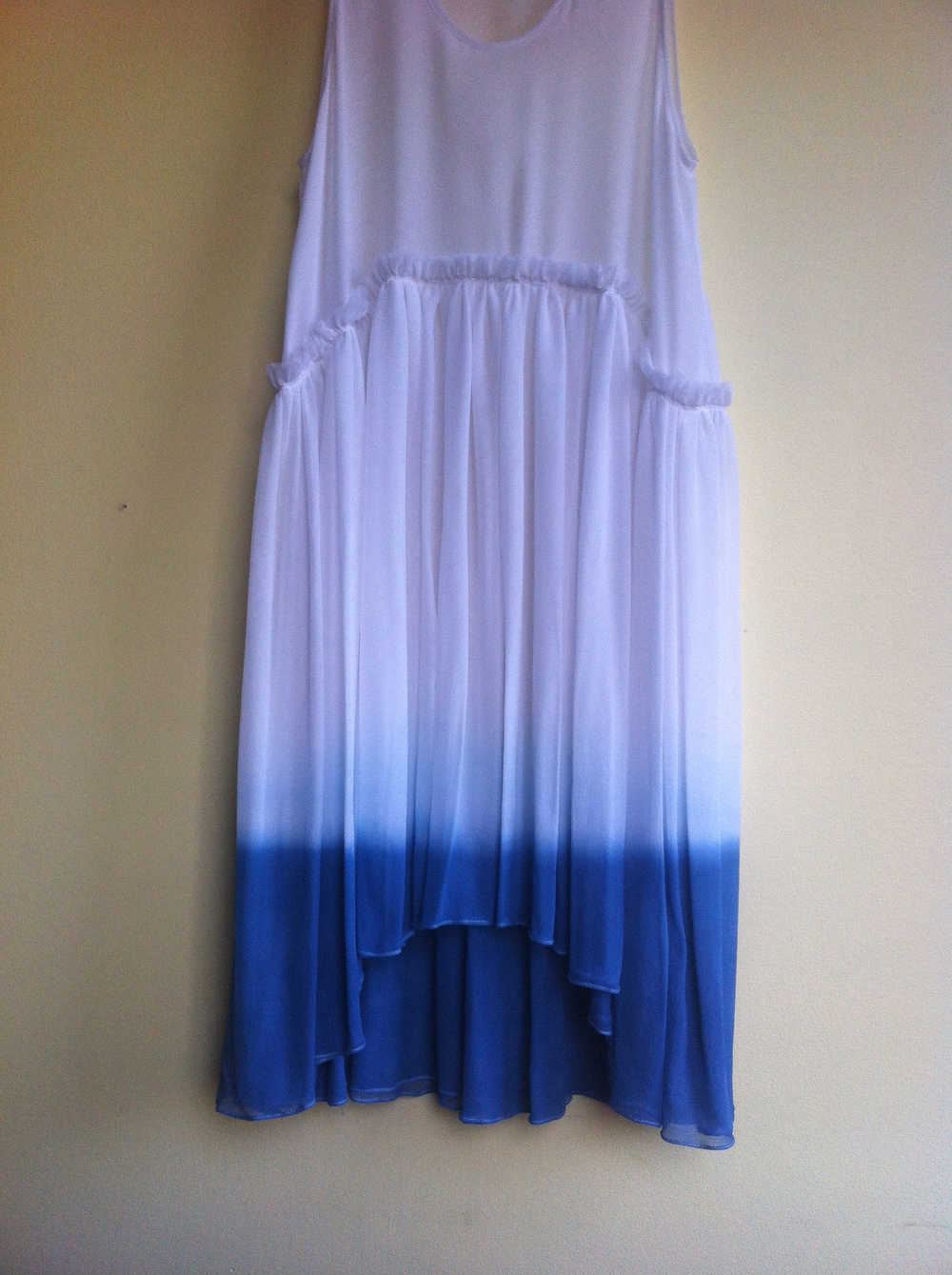 natural indigo dip dyed silk chiffon dress
