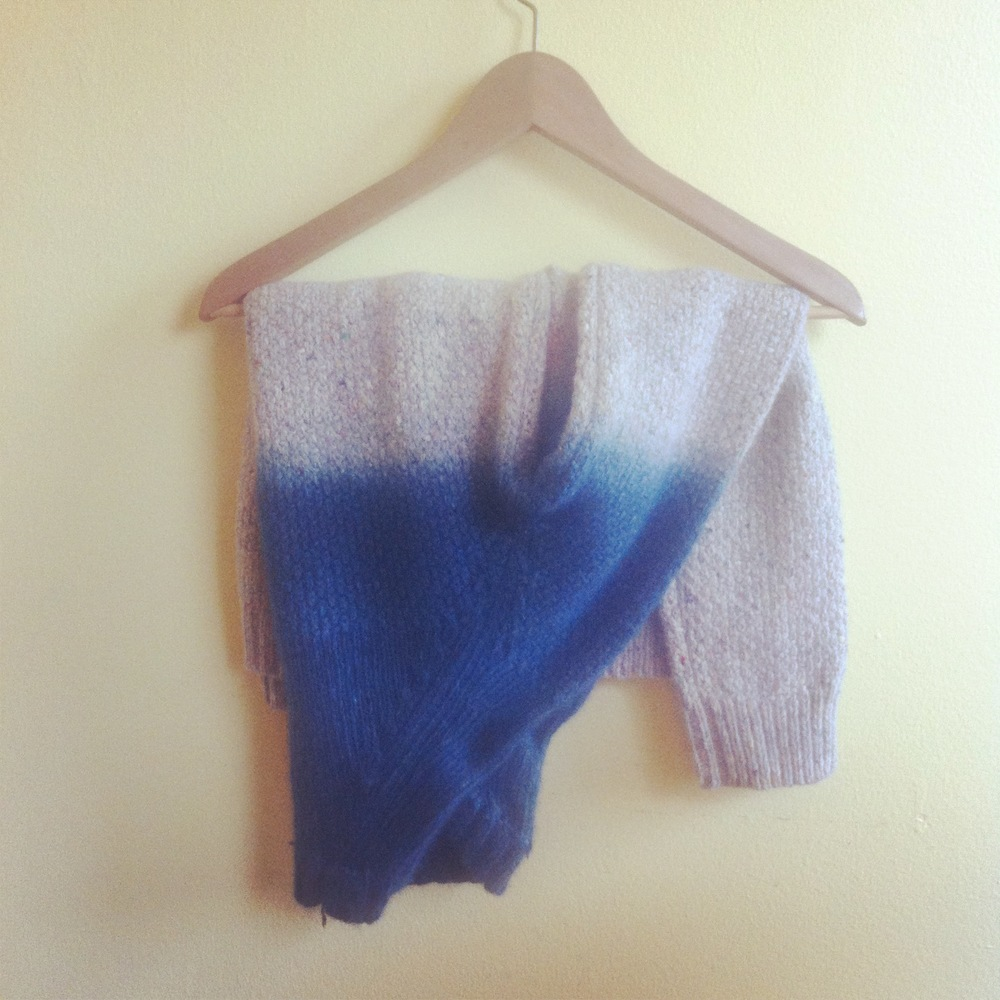 natural indigo dip dyed wool sweater