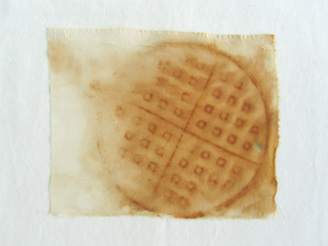 rusted waffle iron dyed on cotton