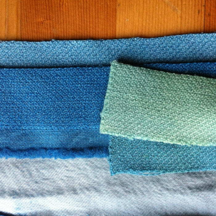 sea green & teal from myrobalan overdyed with saxon blue on wool (this photo really does not do the actual color justice)