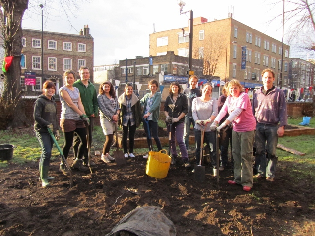 The group of amazing volunteers and garden members at the Cordwainers Community Garden dye bed build day at the London College of Fashion in Hackney 2012