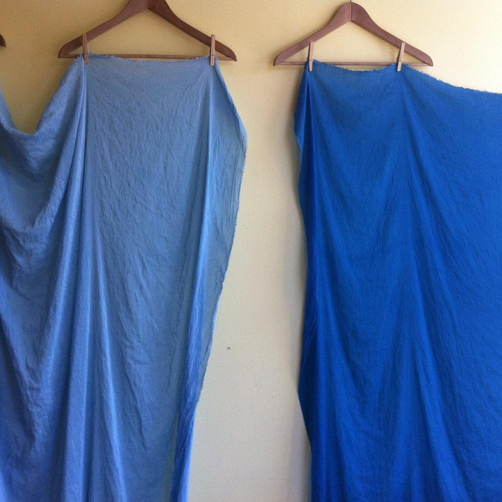 hemp silk indigo dyed (1 dip & 3 dips)