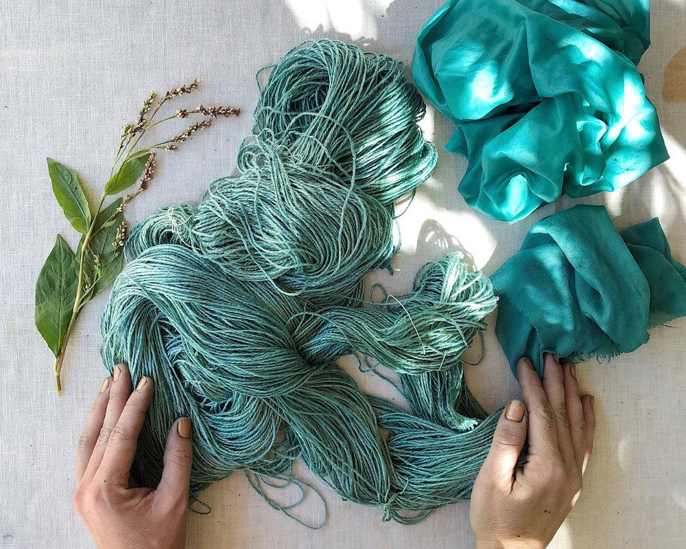 fresh leaf japanese indigo dyed silk yarn and fabric