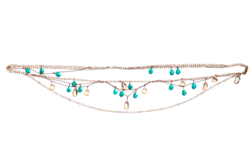 Shel. Couture™ 2014 MYKONOS BELLY in Faceted Turquoise & Swarovski Crystal, Gold Chain