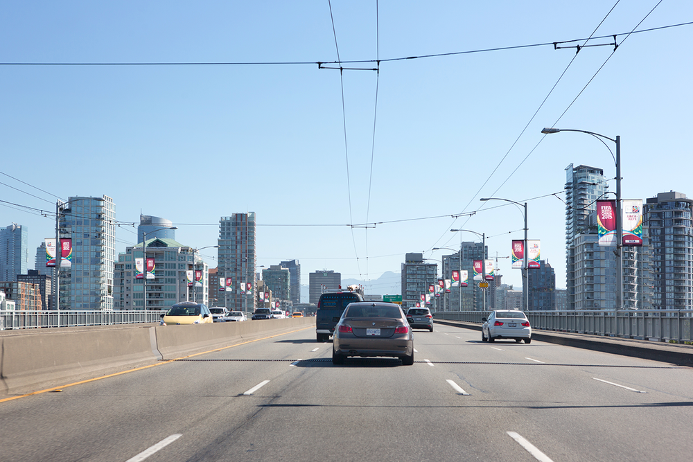 The Vancouver skyline as seen from Granville Street before entering downtown.