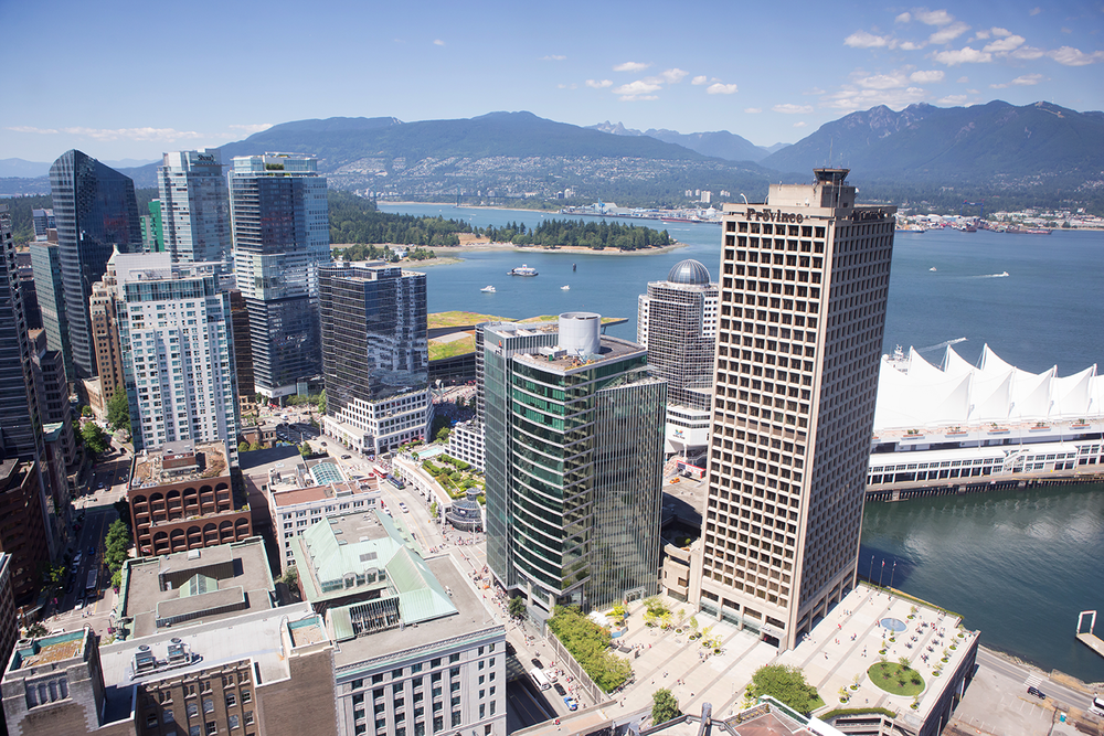 The Vancouver skyline and Canada Place seen from the observation deck of the Vancouver Lookout Tower.