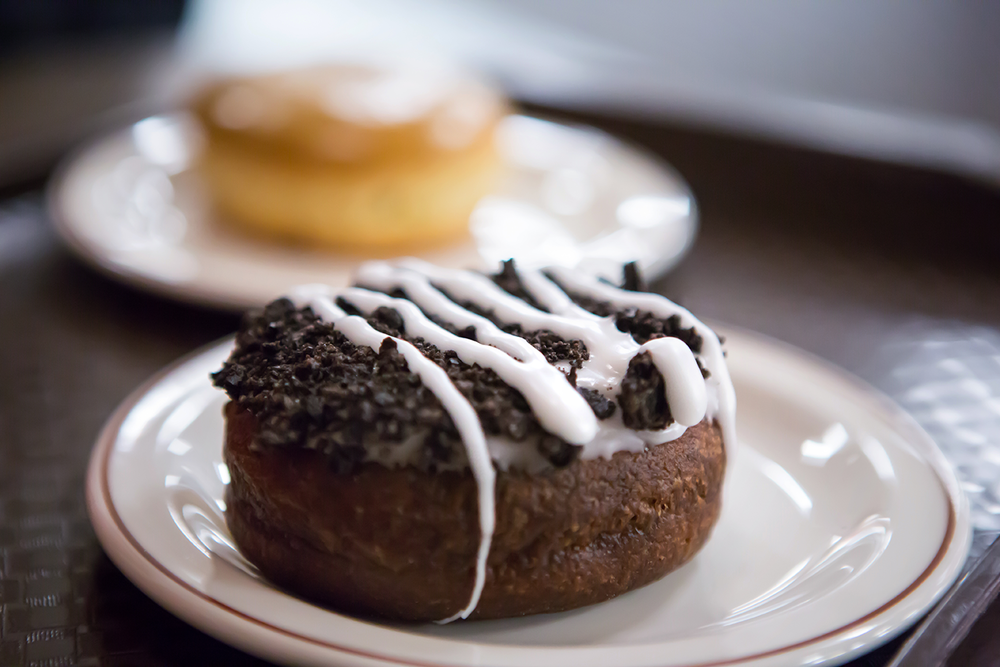 A close up of the Tim Hortons oreo donut in Vancouver, Canada.