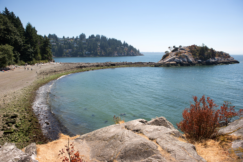 A natural beach scene with Pacific plant life and a monolith rock formation at Whytecliff Park.