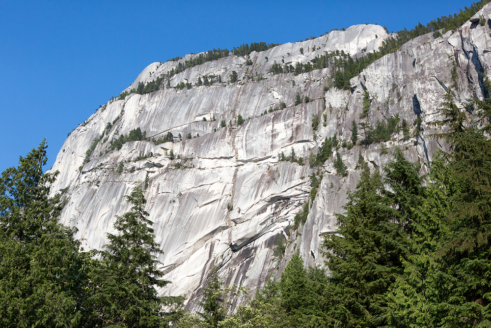The enormous granite cliff-face on a sunny day at Stawamus Cheif Provincial Park.