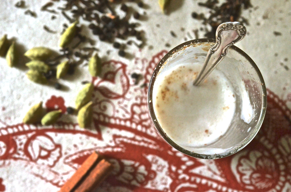 Masala Chai: Assam tea leaves, cardamon, black pepper, cinnamon and ginger