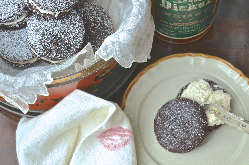 Chocolate Whoopie Pie with a Salted Vanilla Rye Buttercream                                                                Caution, Whoopie pies may induce a little whoppee making!