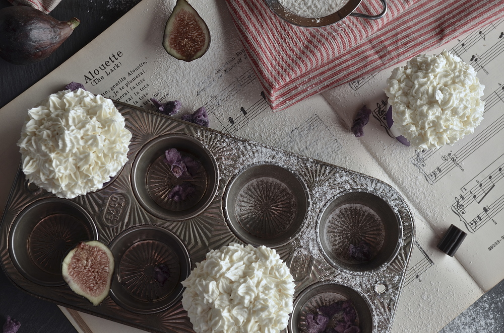 Fig Cupcakes with Anise Buttercream Icing Food Styling by Issha Marie of http://flattenedtofitpaper.com photo taken by Michelle Fattore