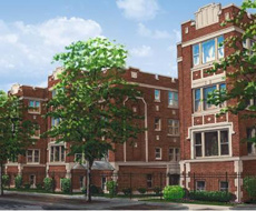 1627 N. Pratt: Triple courtyard building, 90-unit condo conversion in Rogers Park, Chicago.