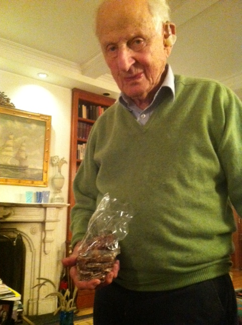 Robert Morgenthau with a bag of our Toffee, 2013