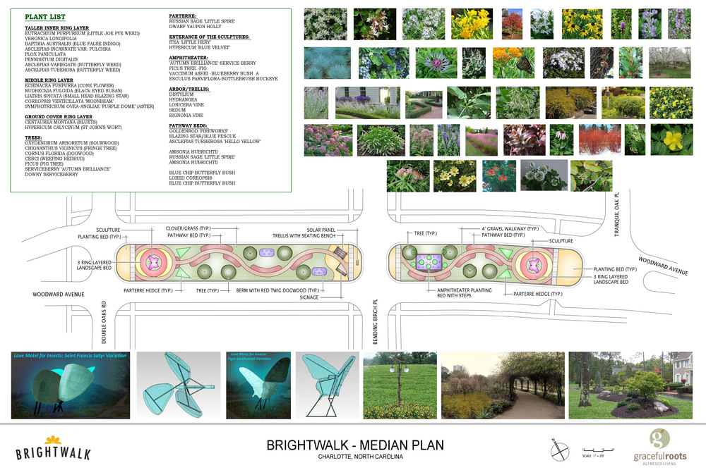 Proposed deadspace landscape design for Charlotte community, BrightWalk. Native Plants and NYC artist's sculpture used to attract pollinators.