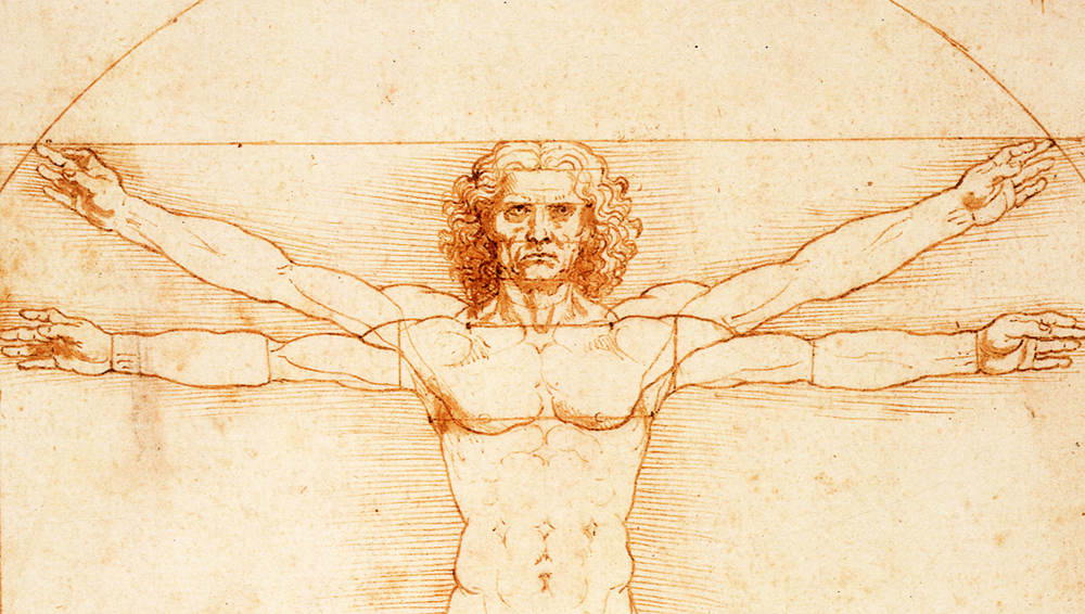 The Vitruvian man - an excellent combination of the art of drawing and the science of anatomy.