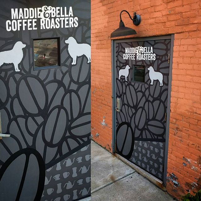 Finally finished up the door at Maddie & Bella Coffee Roasters. You all should check out their spot. They've really done an awesome job setting it up. The interior looks great, and their cold brew is where it's at.