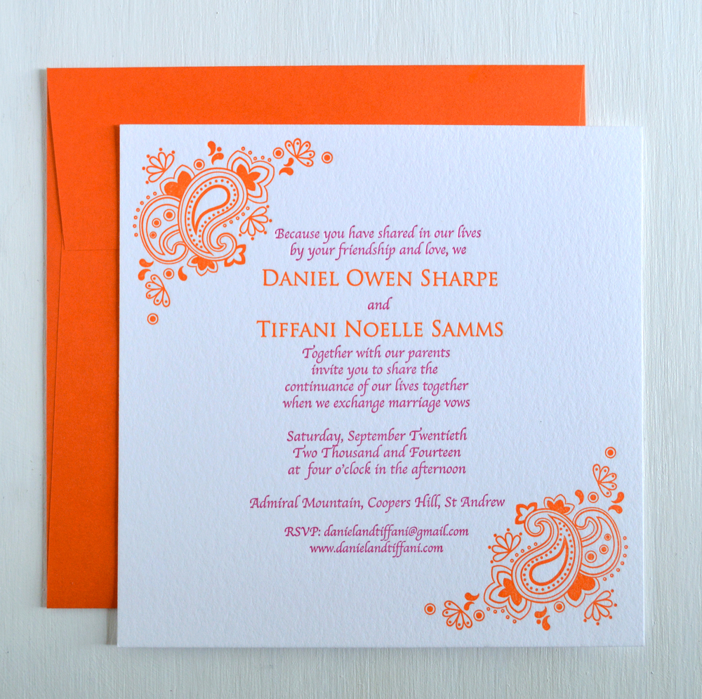 Pink and orange wedding invitations uk cheap