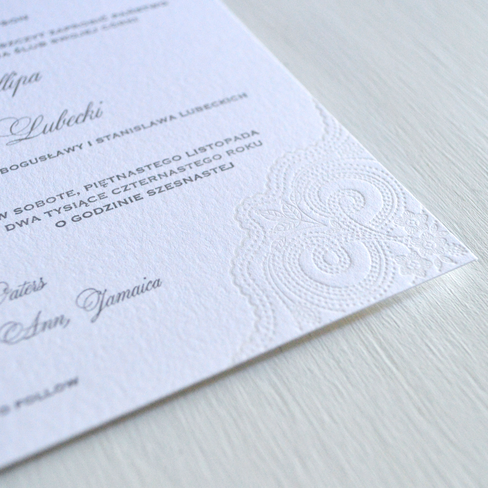 lovely lace letterpress wedding invititaion CU.jpg